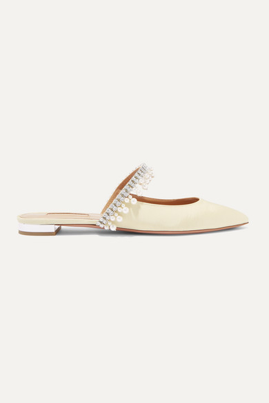 Aquazzura Shoes Exquisite faux pearl and crystal-embellished grosgrain slippers