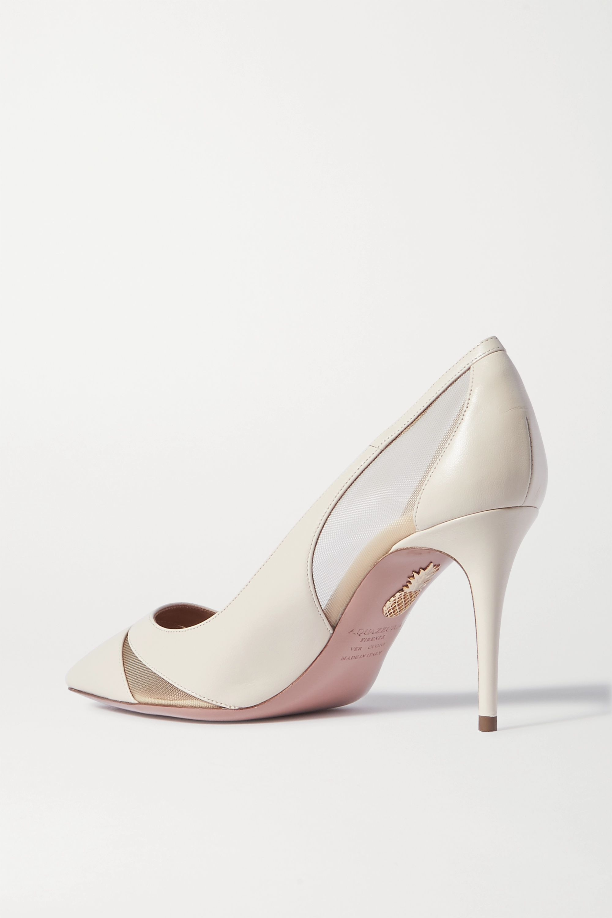 Aquazzura Savoy 85 leather and mesh pumps