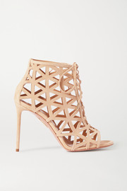 Aquazzura Graphiste 105 laser-cut suede sandals