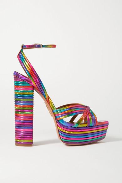 sundance-140-metallic-faux-leather-platform-sandals by aquazzura