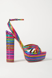 Aquazzura Sundance 140 metallic faux leather platform sandals
