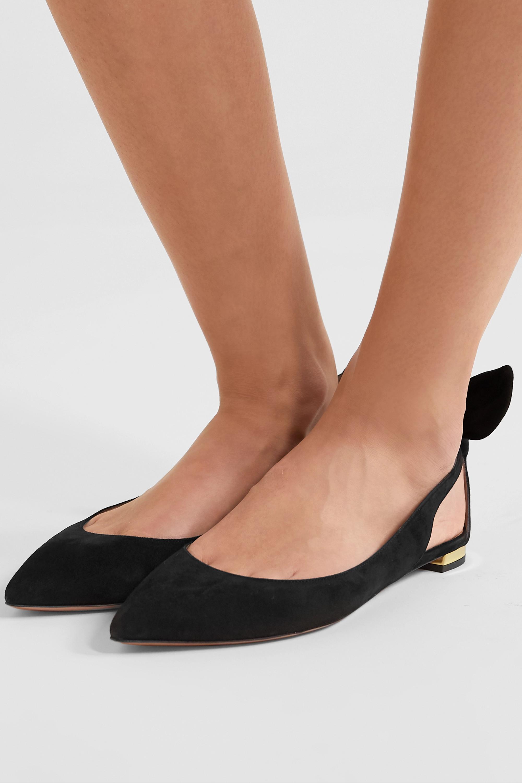 Aquazzura Bow Tie 绒面革尖头平底鞋