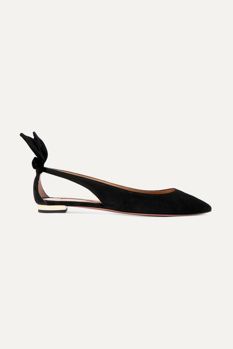 Black Bow Tie suede point-toe flats | Aquazzura h8PM19
