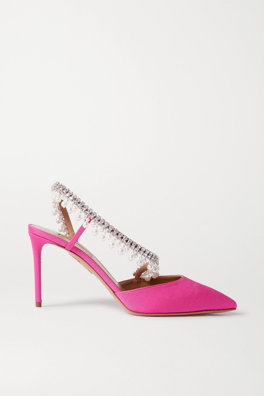 Aquazzura Exquisite 85 crystal and faux pearl-embellished grosgrain slingback pumps