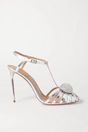 Aquazzura Sublime 105 crystal-embellished cutout metallic leather sandals
