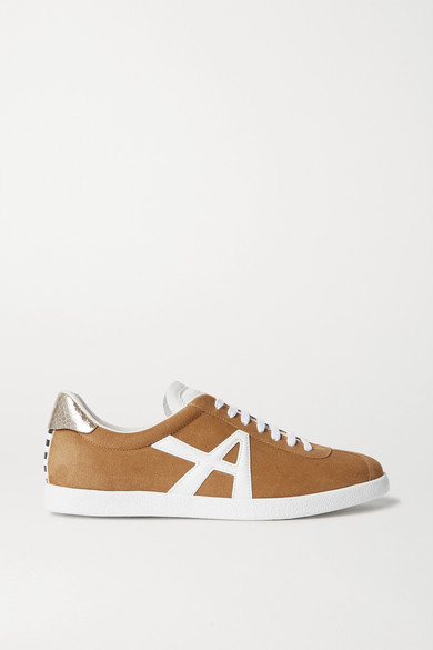 the-a-leather-trimmed-suede-sneakers by aquazzura