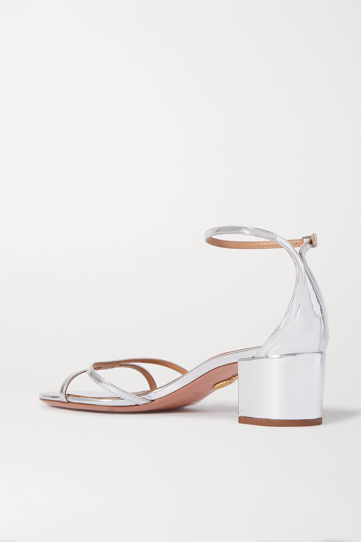 Aquazzura Purist 50 mirrored-leather sandals