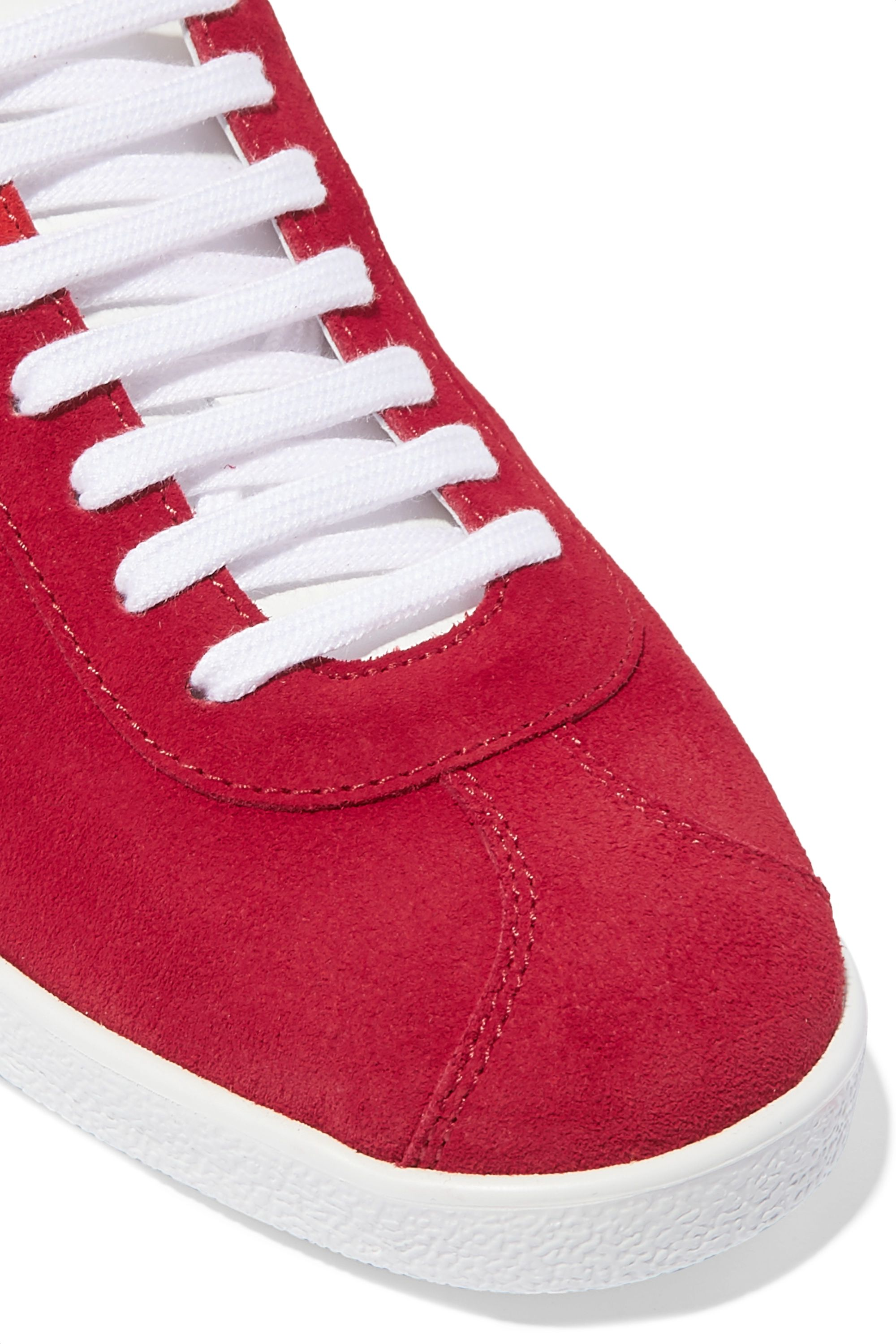 Red The A leather-trimmed suede