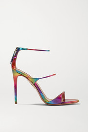 Aquazzura Minute 105 iridescent faux leather sandals