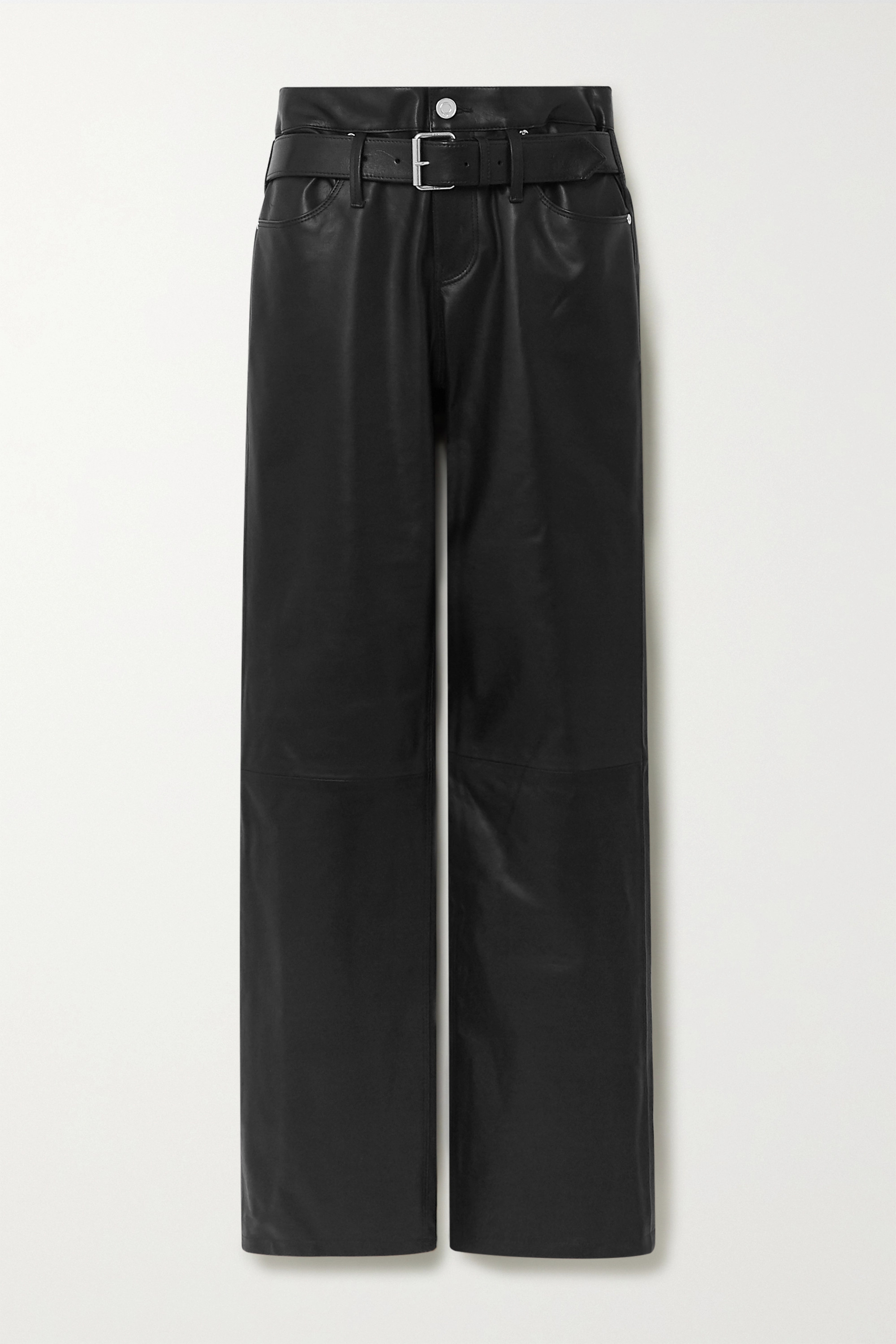 RtA Dexter belted leather straight-leg pants