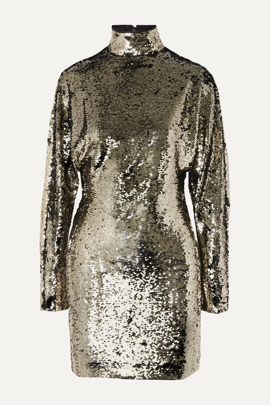 RtA | Ansel sequined voile turtleneck mini dress | NET-A-PORTER.COM