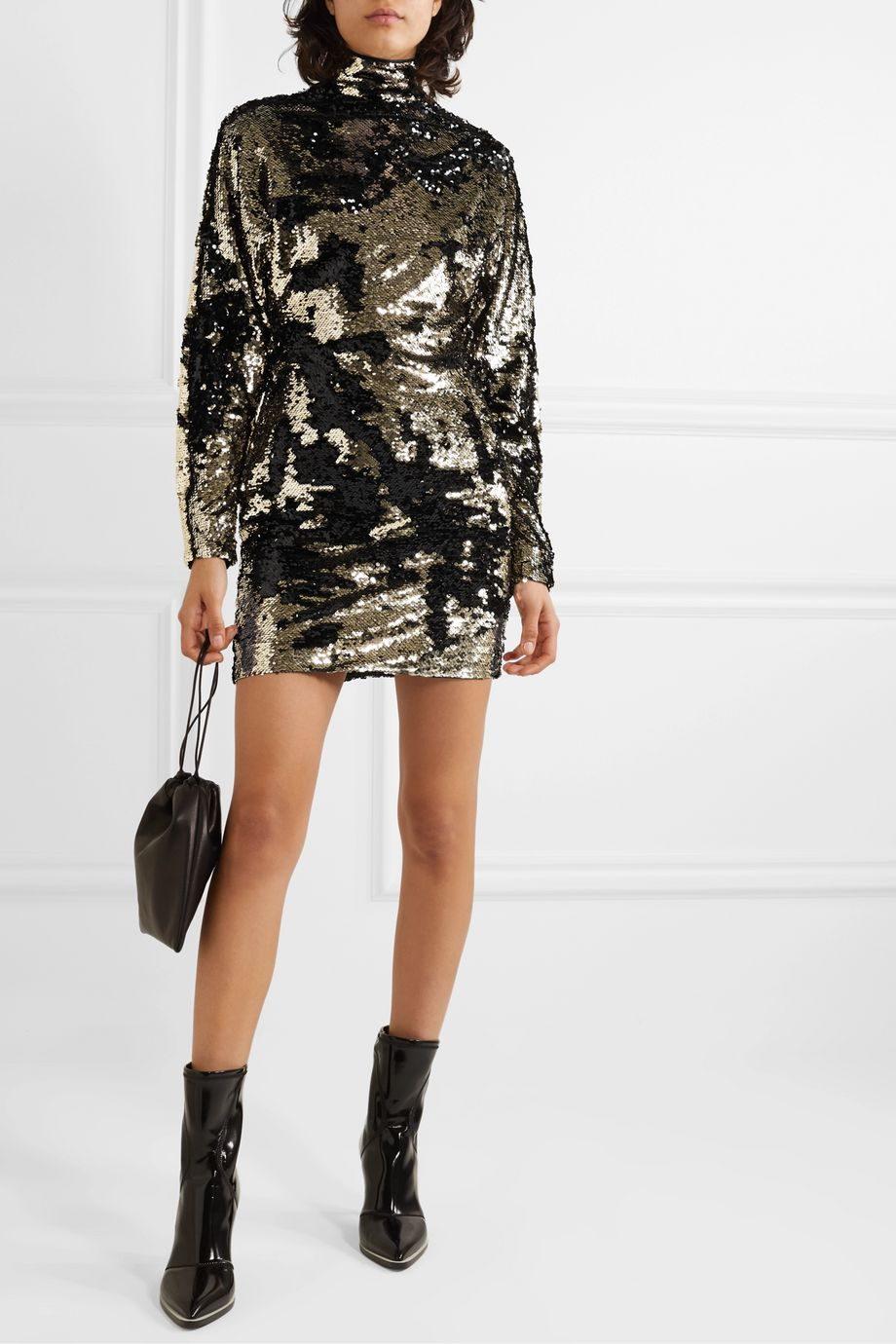 RtA Ansel sequined voile turtleneck mini dress