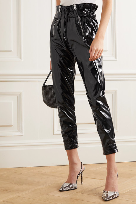 Leon belted vinyl tapered pants