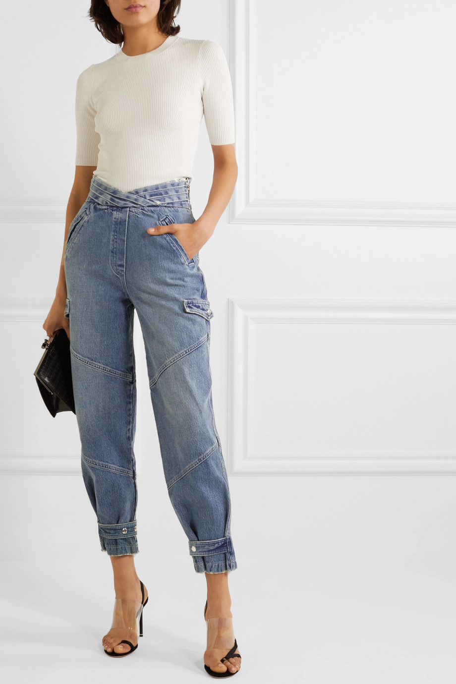 RtA Dallas cropped high-rise tapered jeans