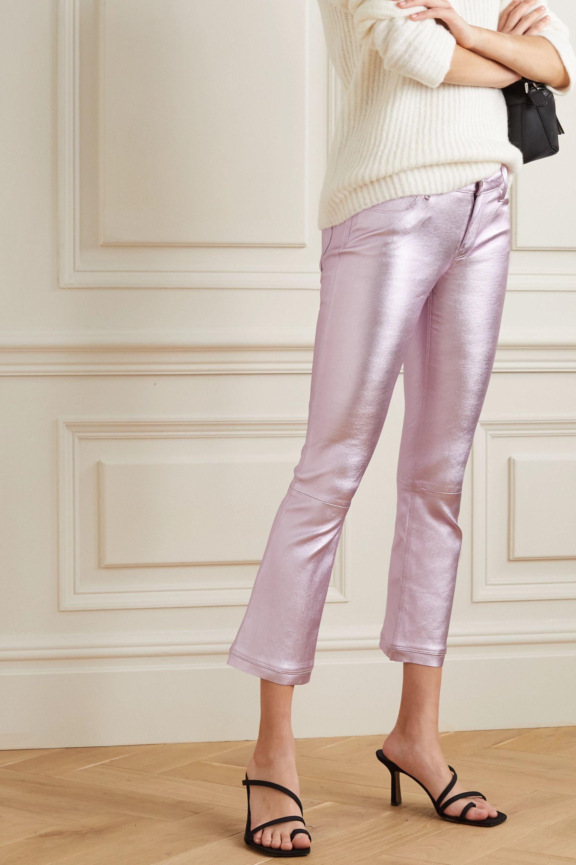 RtA Kiki cropped metallic leather flared pants