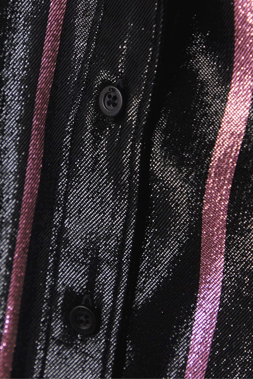 RtA Blythe striped metallic silk-blend lamé shirt
