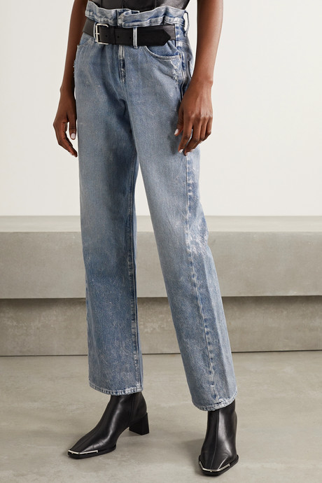 Dexter belted distressed metallic high-rise straight-leg jeans