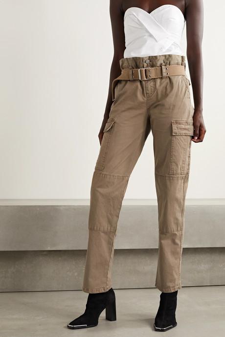 Sallinger belted cotton-blend twill straight-leg cargo pants