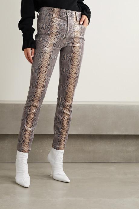 Madrid snake-effect leather skinny pants