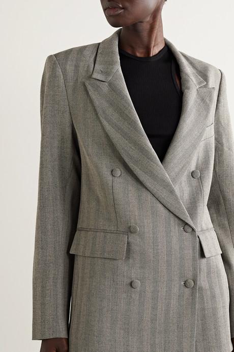 Clark double-breasted herringbone woven blazer
