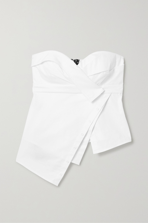 RtA Nelly asymmetric cotton-poplin bustier top