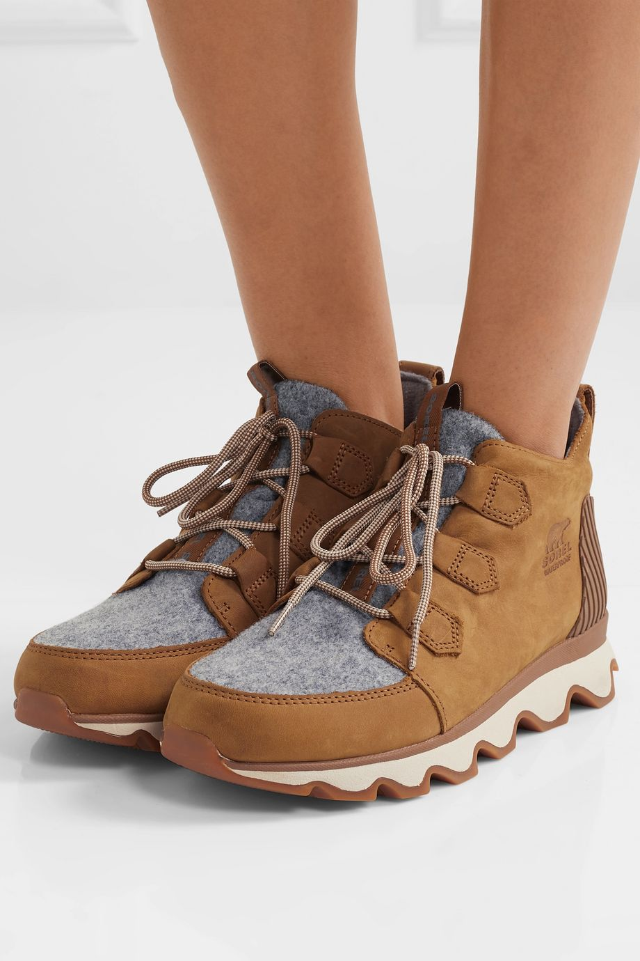 Sorel Kinetic Caribou waterproof suede and felt ankle boots