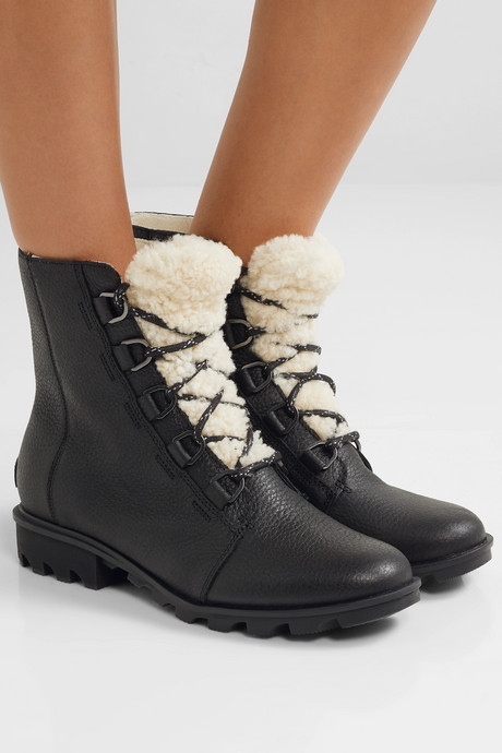 Phoenix shearling-trimmed waterproof textured-leather ankle boots