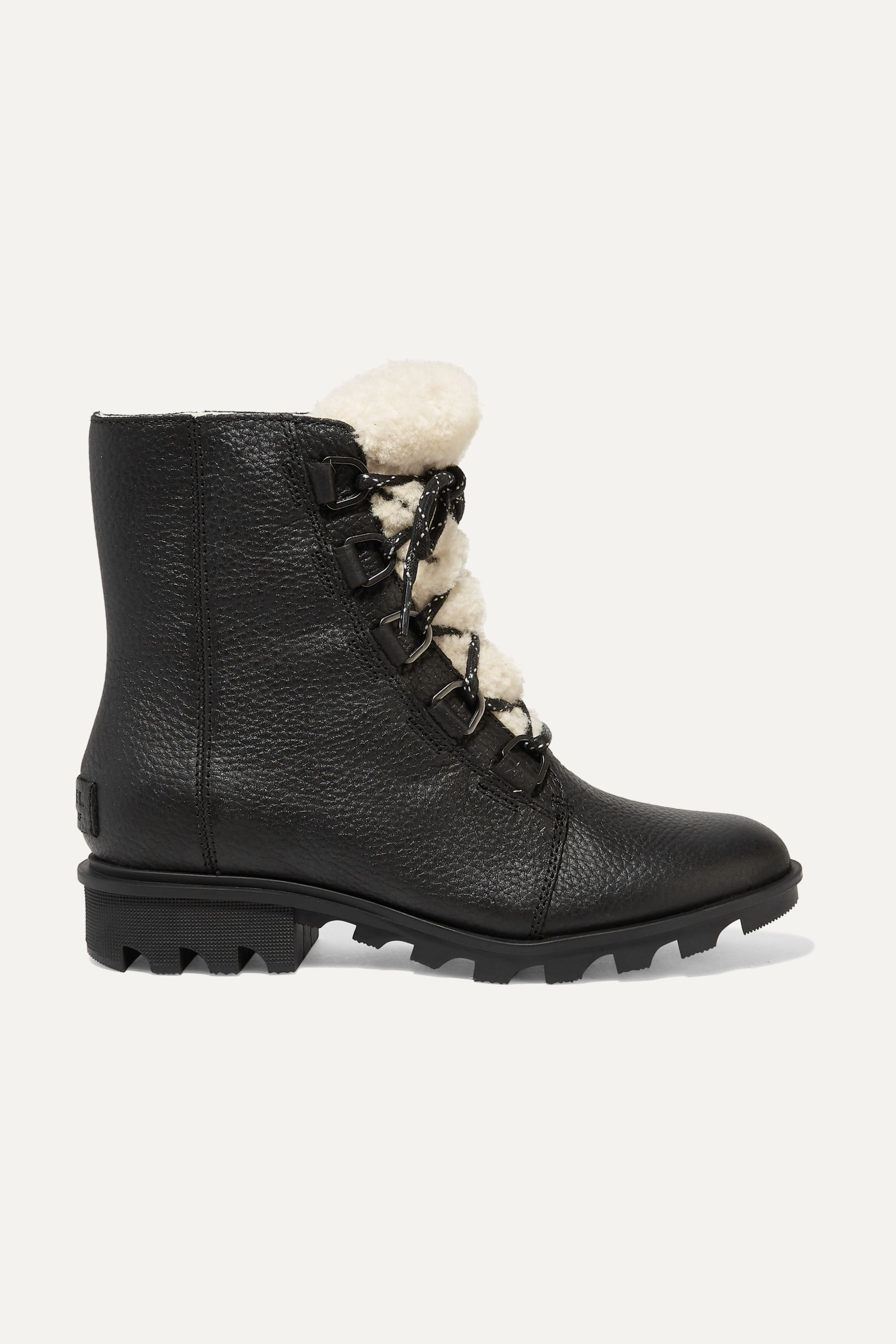 Sorel Phoenix shearling-trimmed waterproof textured-leather ankle boots
