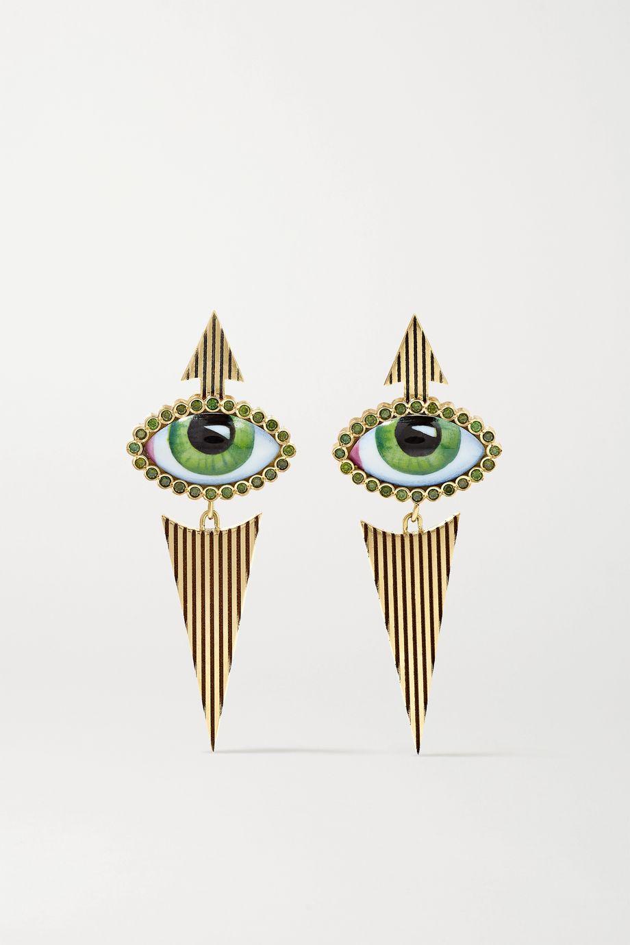Lito Tu Es Partout Ohrringe aus 14 Karat Gold mit Emaille und Diamanten