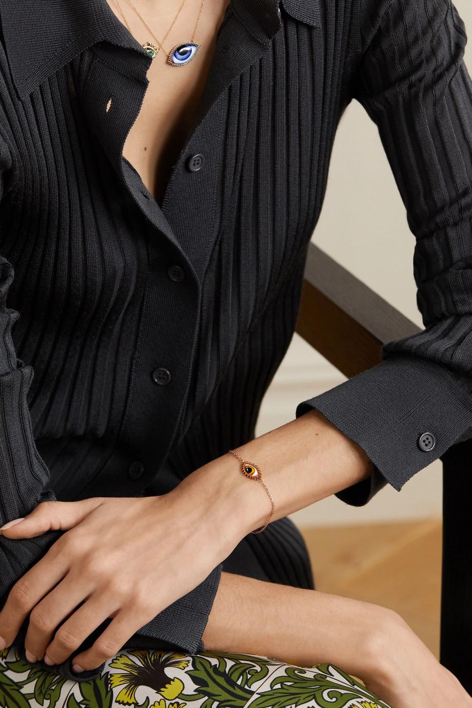 Lito Tu Es Partout 14-karat rose gold and enamel bracelet