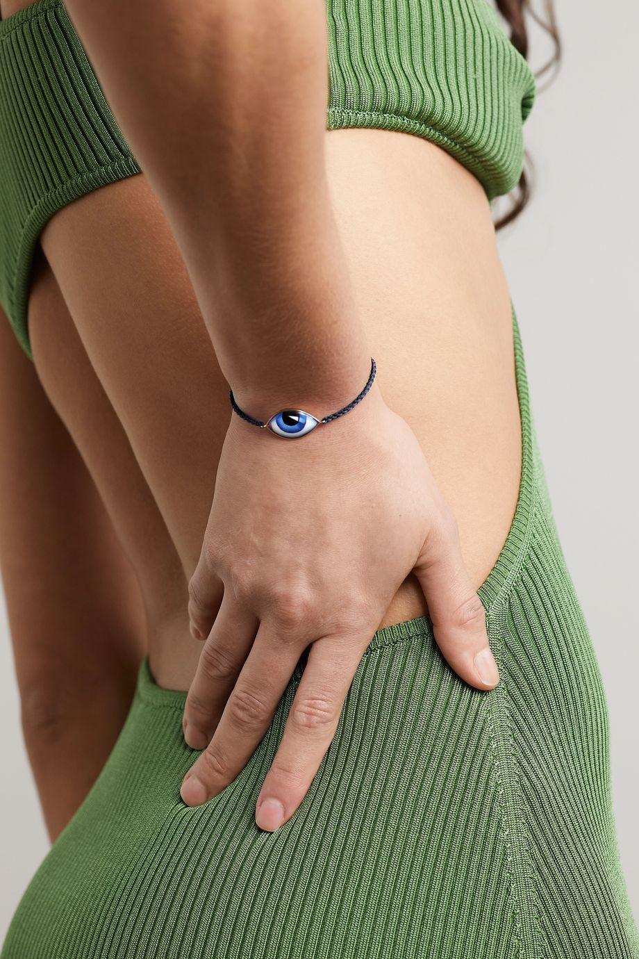 Lito Bracelet en or rose 14 carats, macramé et émail Tu Es Partout