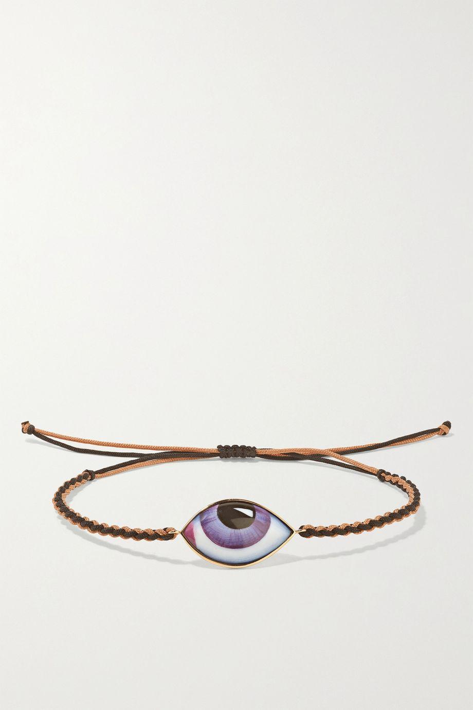 Lito Tu Es Partout 14-karat rose gold, macramé and enamel bracelet