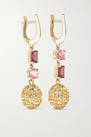 Larkspur & Hawk Arbor Eyelet 14-karat gold, tourmaline and enamel earrings