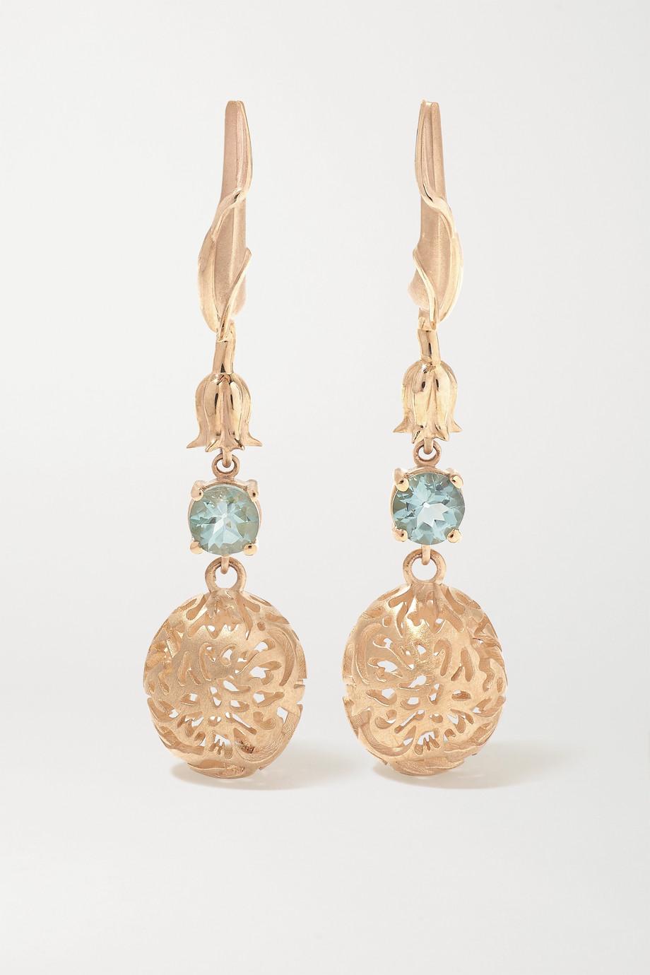 Larkspur & Hawk Emily's Garden Arbor Eyelet 14-karat gold tourmaline earrings