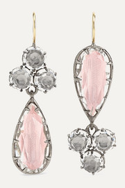 Sadie rhodium-dipped quartz earrings