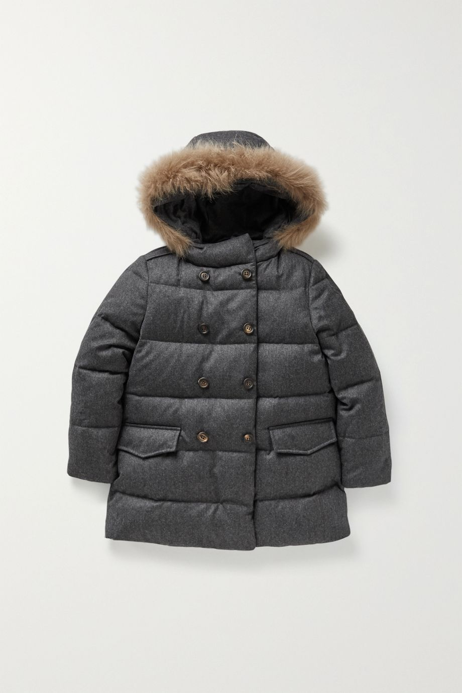 Brunello Cucinelli Kids Hooded shearling-trimmed wool-flannel coat