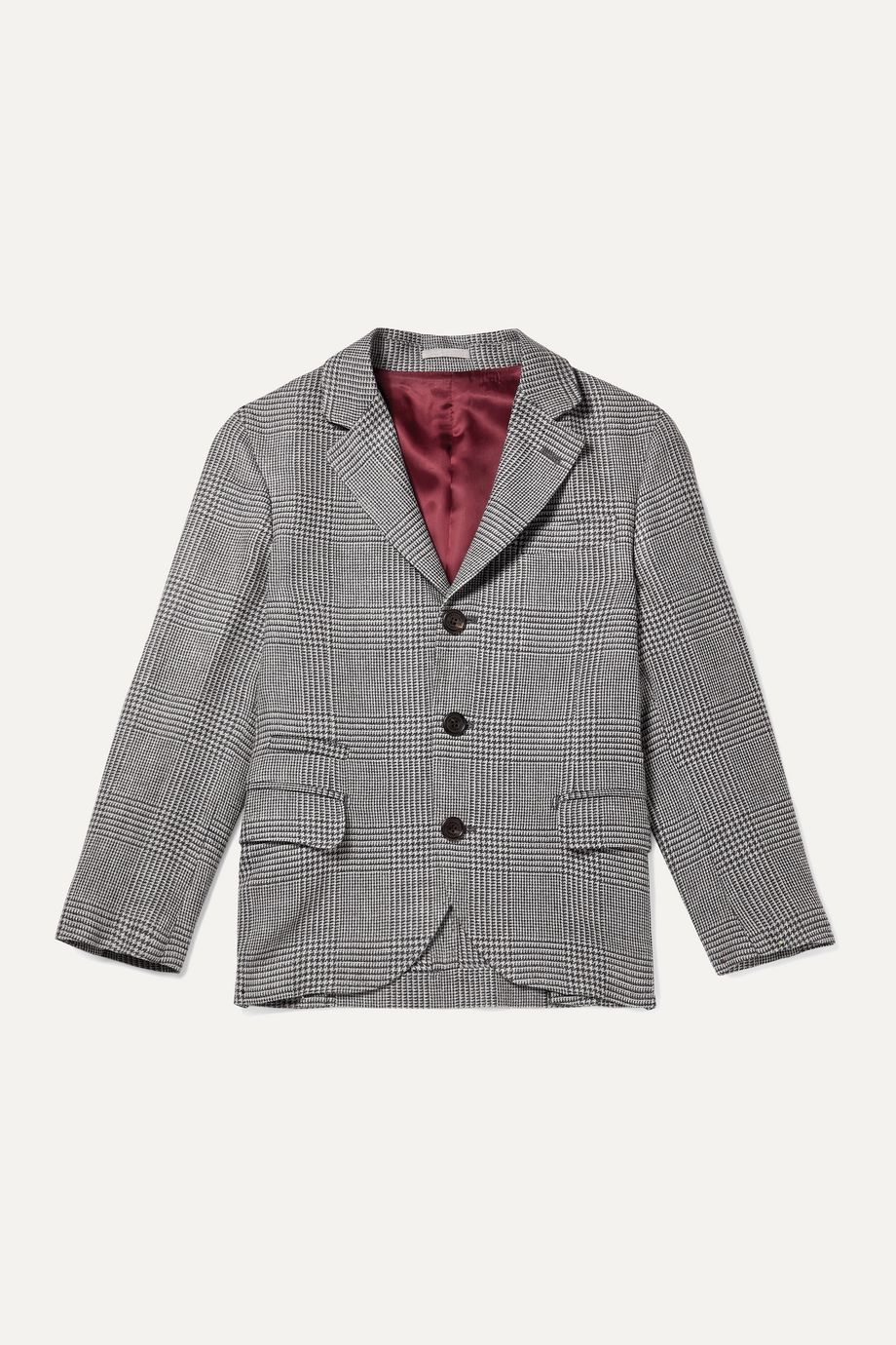 Brunello Cucinelli Kids Prince of Wales checked wool, linen and silk-blend blazer