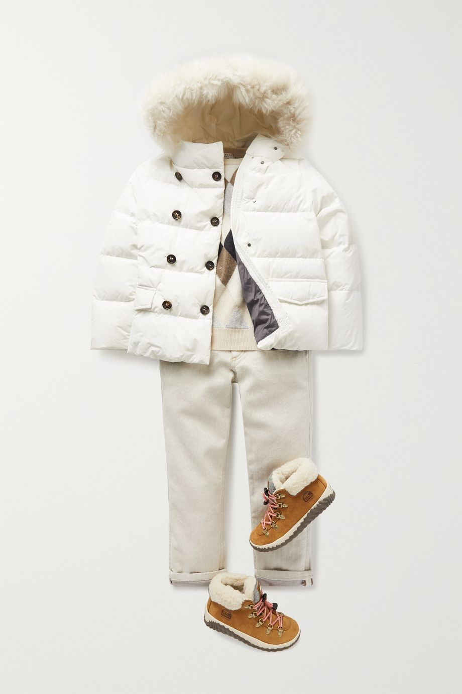 Brunello Cucinelli Kids Ages 8 - 10 hooded shearling-trimmed shell down coat