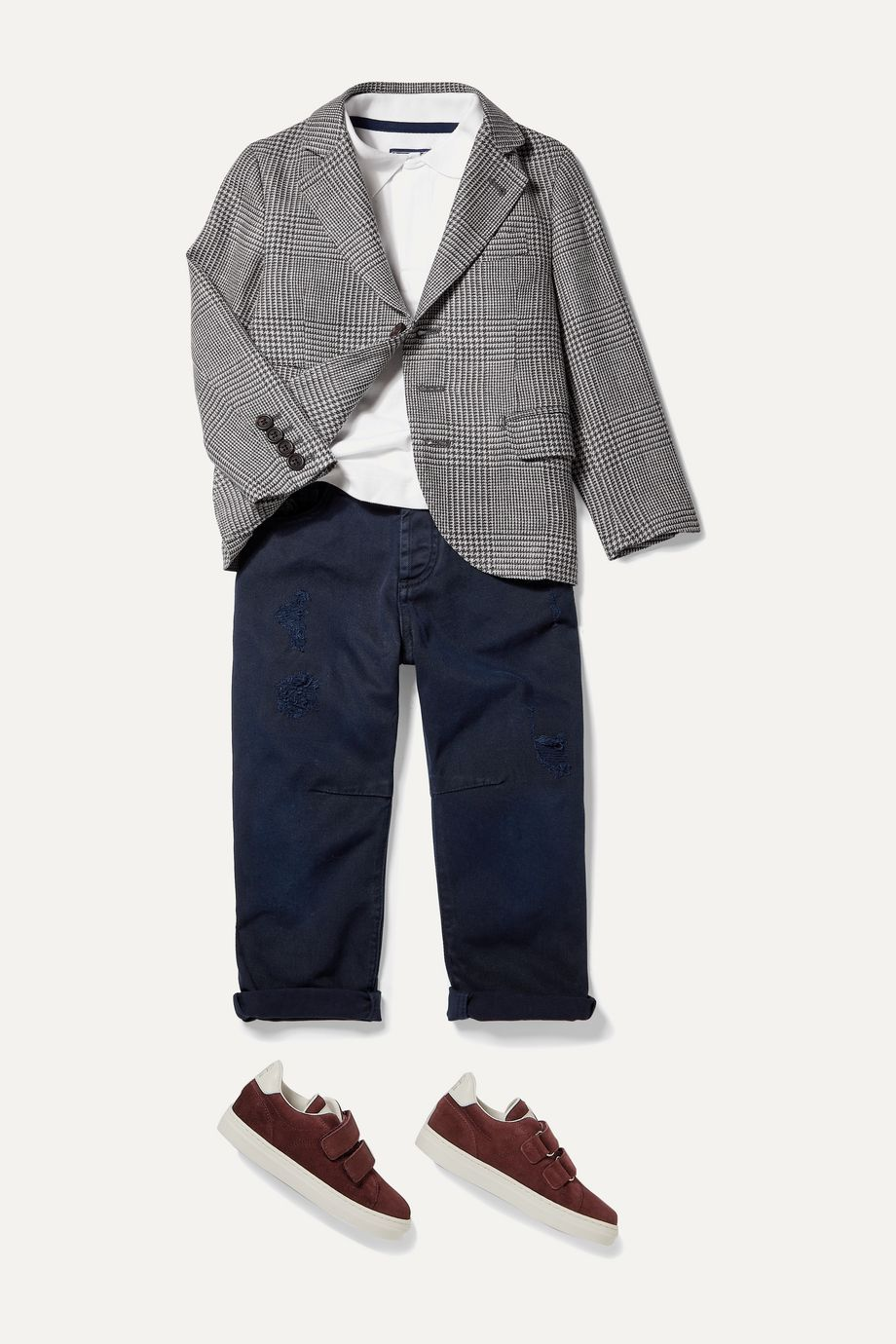 Brunello Cucinelli Kids Ages 4 - 6 Princes of Wales checked wool, linen and silk-blend blazer