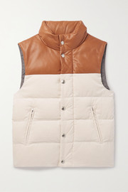 Brunello Cucinelli Kids Ages 8 - 10 leather-trimmed quilted cotton-corduroy down vest