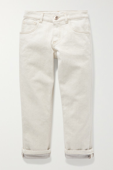 Brunello Cucinelli Ages 8 - 10 bead-embellished jeans