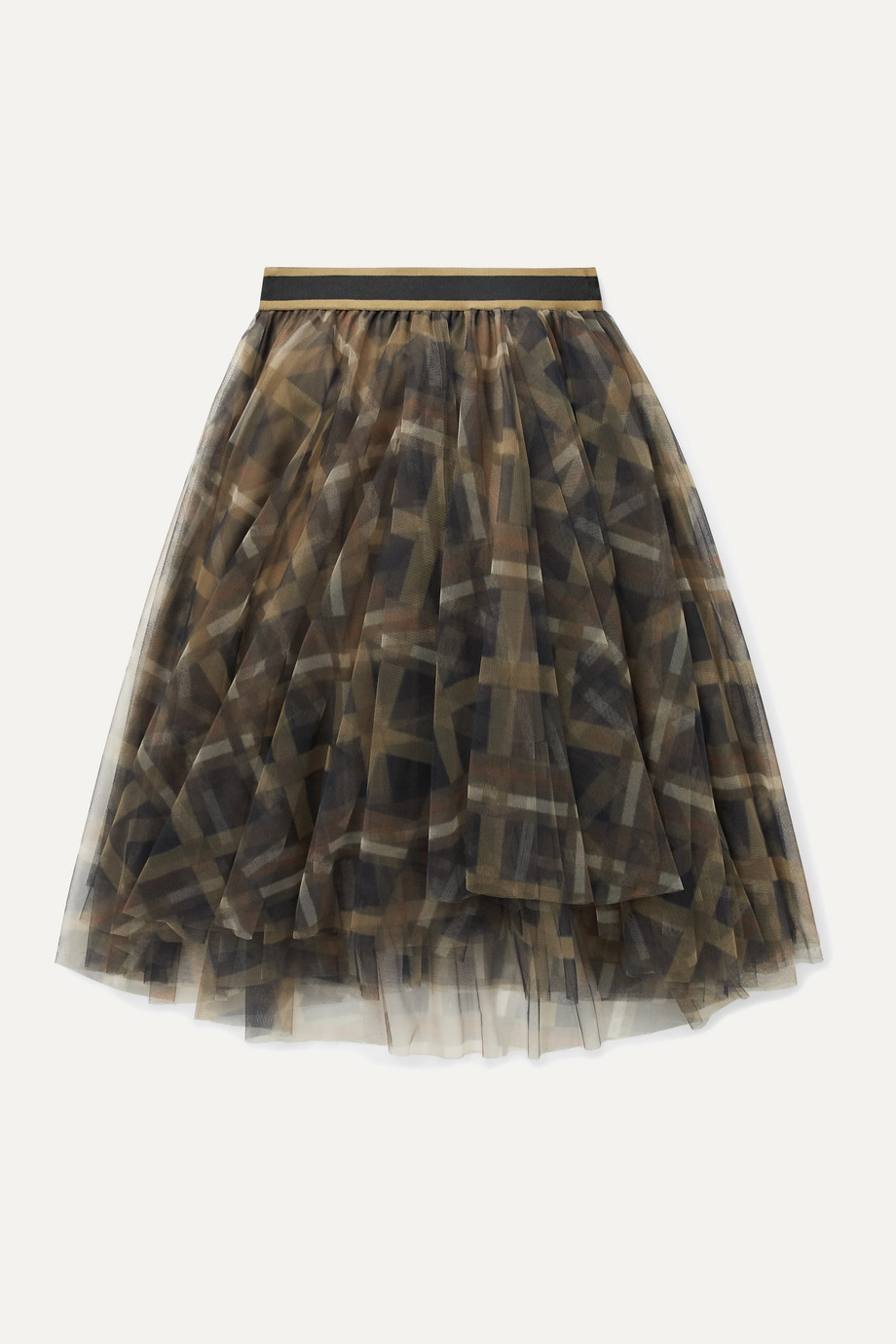 Brunello Cucinelli Kids Ages 8 - 10 plaid tulle skirt