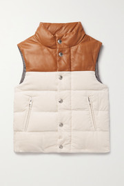 Brunello Cucinelli Kids Ages 4-6 leather-trimmed quilted cotton-corduroy down vest