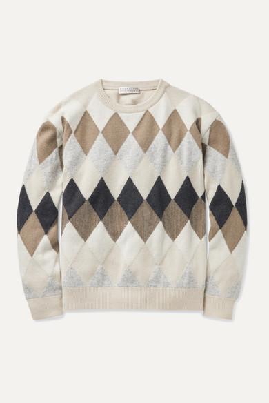 Brunello Cucinelli Sequin-embellished argyle wool-blend sweater
