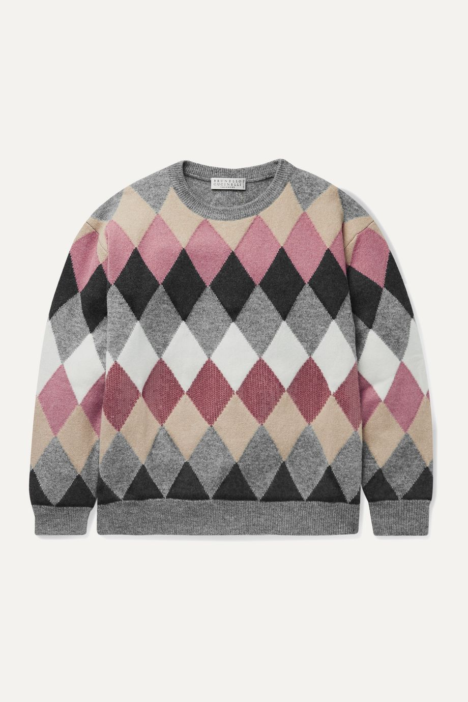 Brunello Cucinelli Kids Ages 8 - 10 sequin-embellished argyle wool-blend sweater