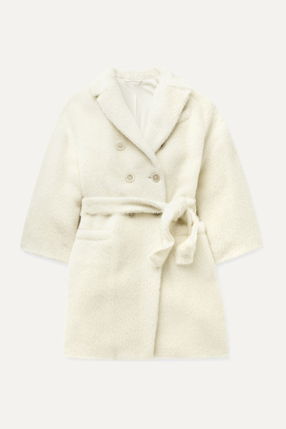 Brunello Cucinelli Kids Ages 4 - 6 bead-embellished double-breasted alpaca and wool-blend overcoat