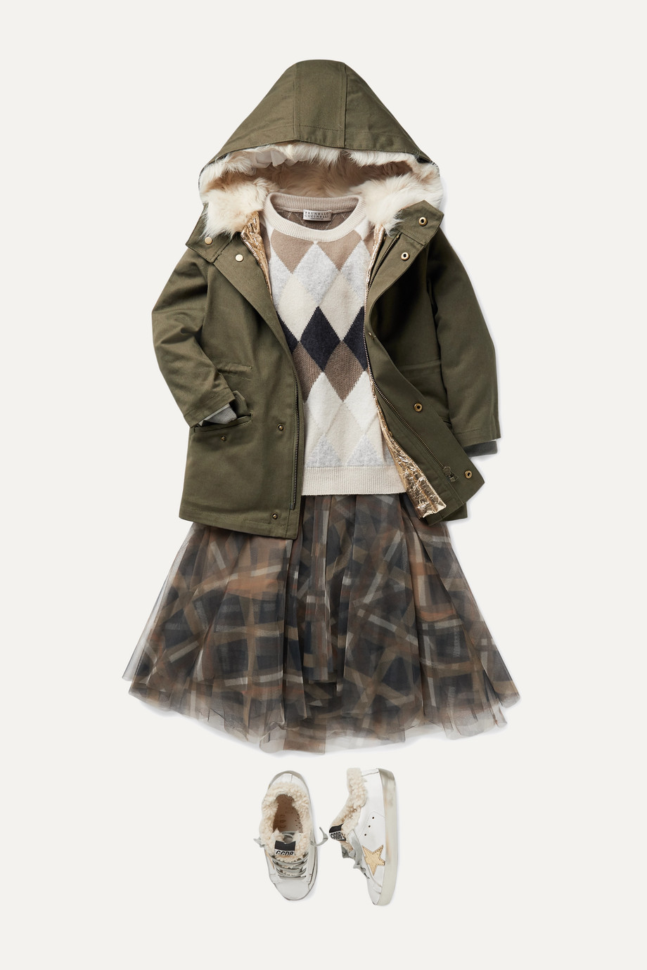 Brunello Cucinelli Kids Checked tulle skirt