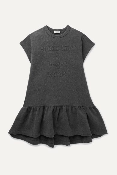 Brunello Cucinelli Ages 4 - 6 embellished stretch-cotton jersey dress