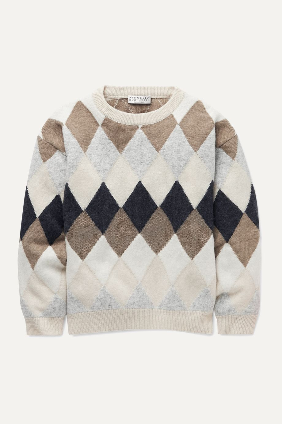 Brunello Cucinelli Kids Sequin-embellished argyle wool-blend sweater