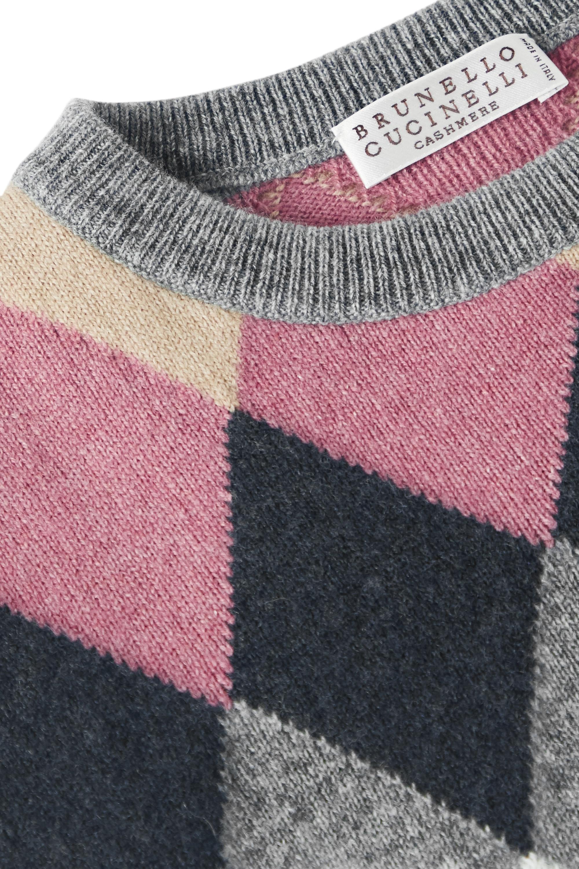Brunello Cucinelli Kids 4–6 Jahre – Pullover aus einer Wollmischung mit Pailletten und Argyle-Muster